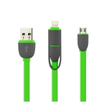 Cablu De Date 2 In 1 Iphone 5/6 + Micro Usb Verde pt Telefon Tableta