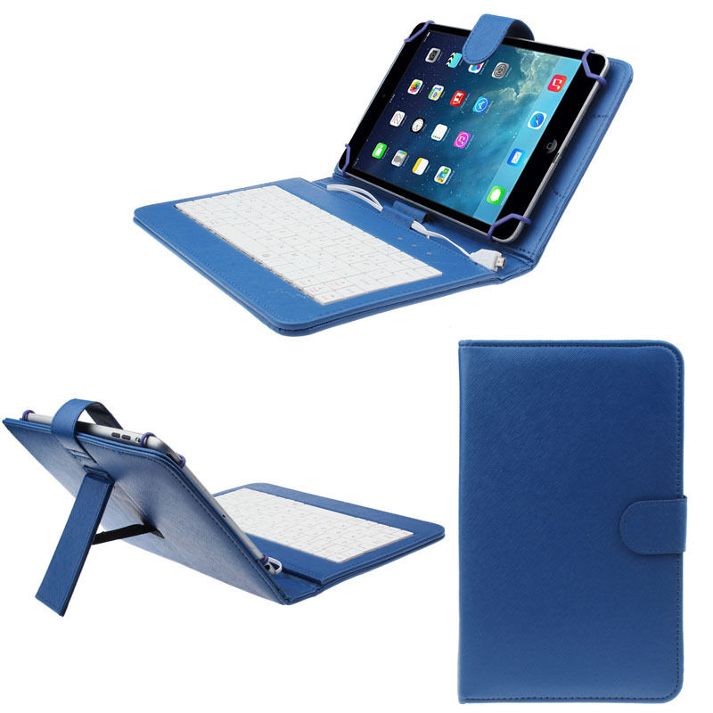Husa Tableta 7 Inch Cu Tastatura Micro Usb Model X , Albastru , Tip Mapa