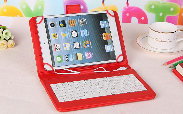 Husa Tableta 8 Inch Cu Tastatura Micro Usb Model X , Rosu , Tip Mapa