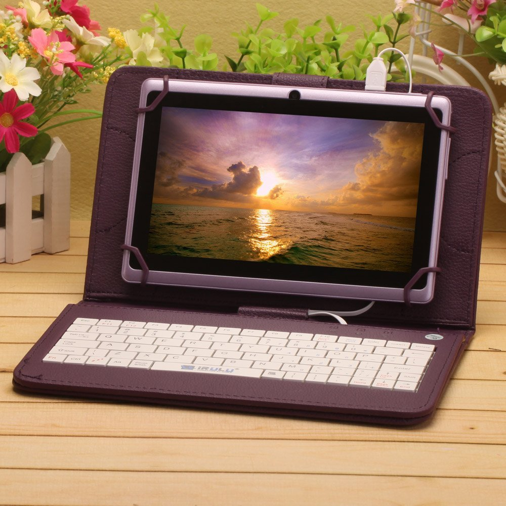 Husa Tableta 9 Inch Cu Tastatura Micro Usb Model X , Mov , Tip Mapa
