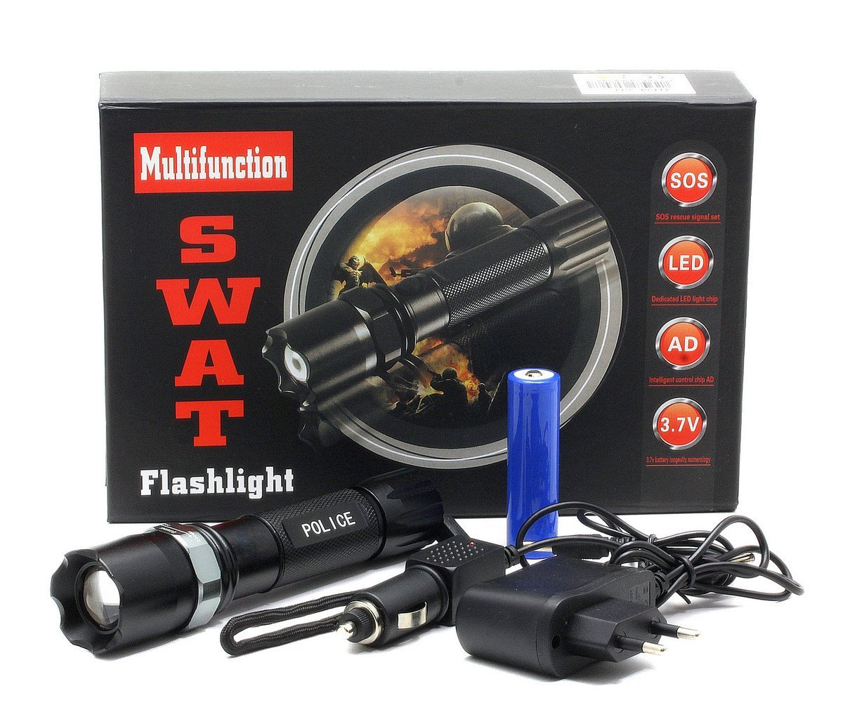 Lanterna SWAT LED 3W CREE Q5 Metalica Reincarcabila cu Acumulator Li-Ion