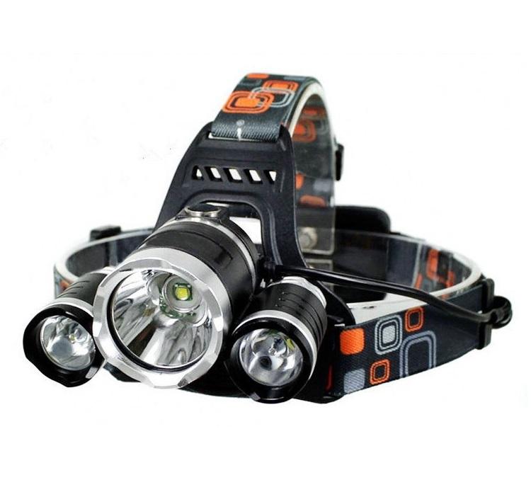 Lanterna cap reincarcabila MRG P-353, 3 LED Cree XML T6, Aluminiu, 2 Acumulatori