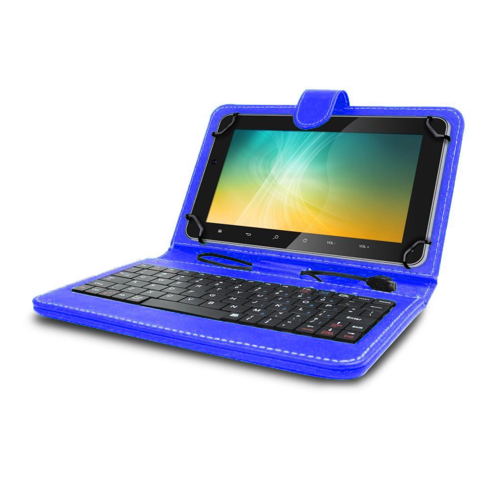 Husa tableta model X cu tastatura MRG L-404, MicroUSB, 10 inch, Albastru