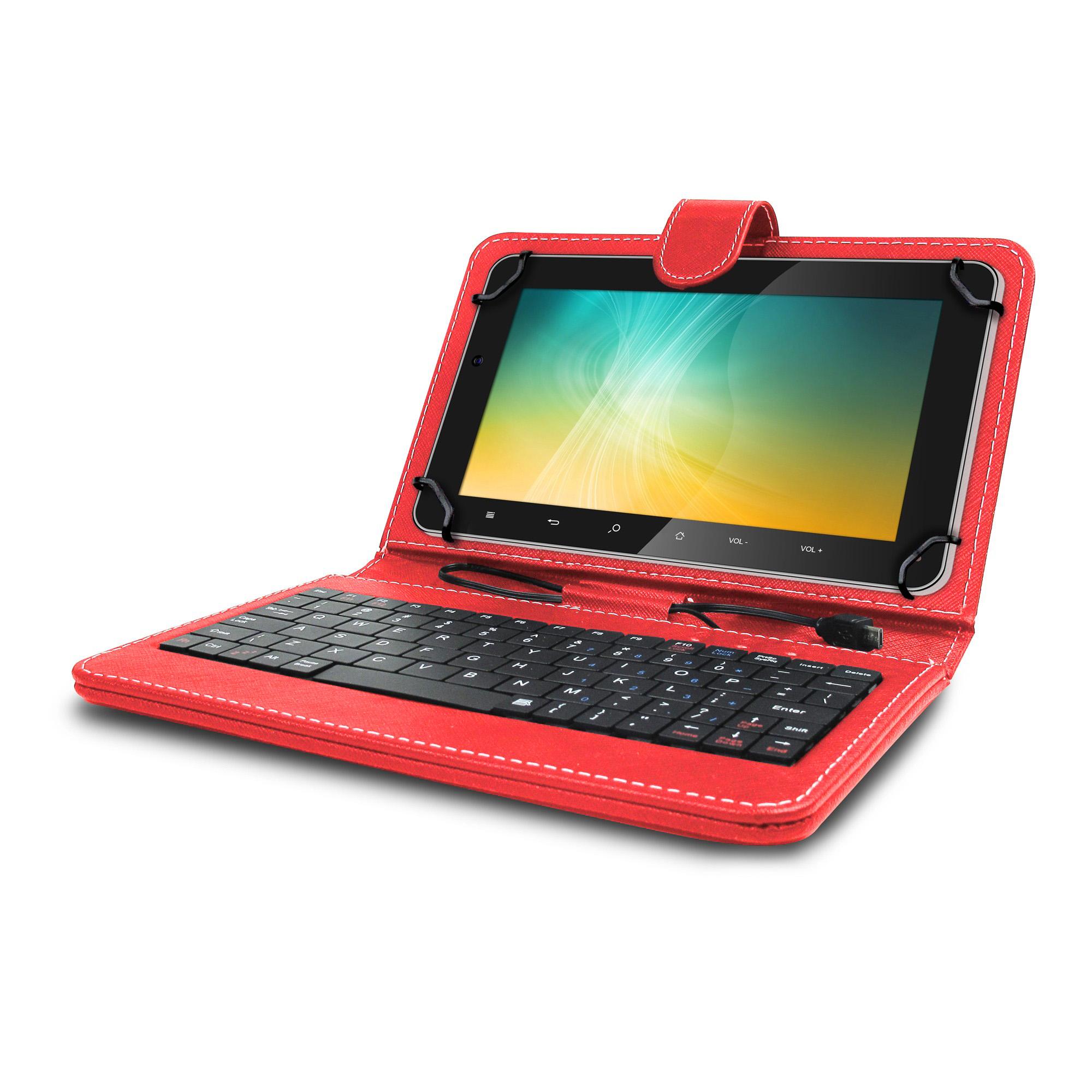 Husa tableta model X cu tastatura MRG L-405, MicroUSB, 10 inch, Rosu