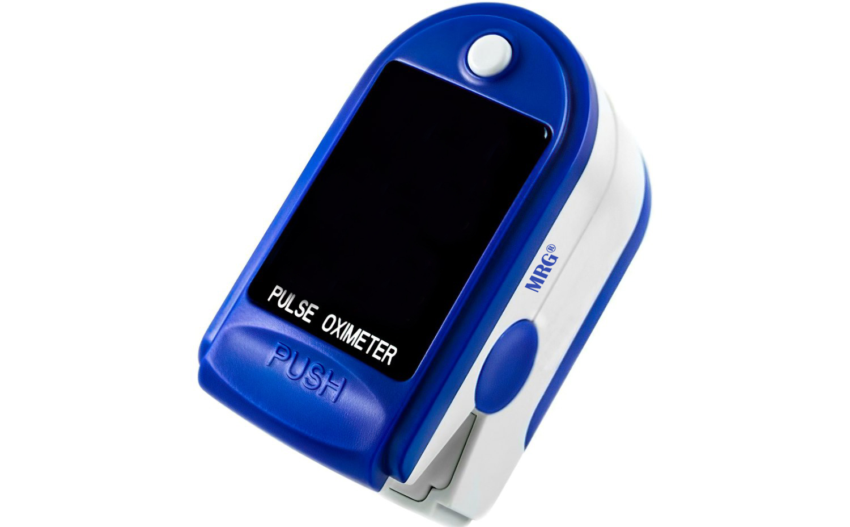 Pulsoximetru MRG M-JZK-302, Display digital, Pentru deget, Alb / Albastru