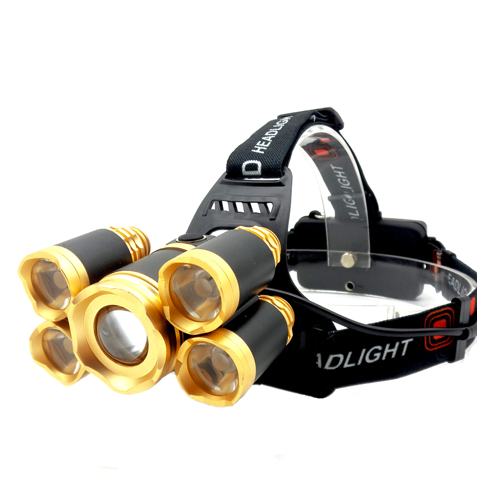 Lanterna cap reincarcabila MRG P-388, 5x LED, Rezistenta la apa, 2x Acumulatori