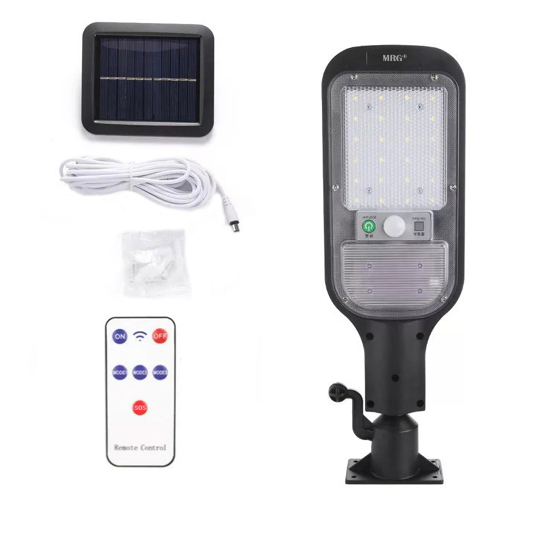 Lampa solara stradala MRG A-JX-516, Panou solar, Cu telecomanda, Negru