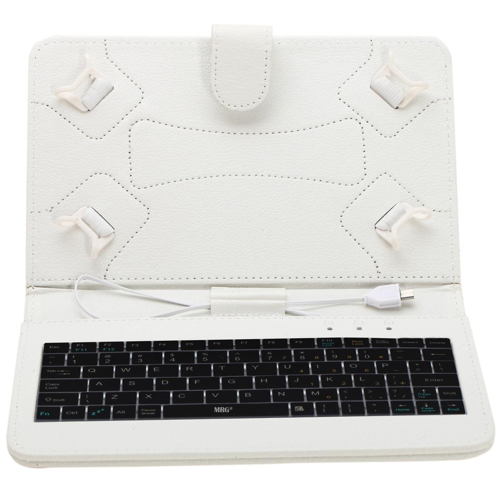 Husa tableta MRG M536, Cu tastatura, MicroUSB, Model X, 7 inch, Alb