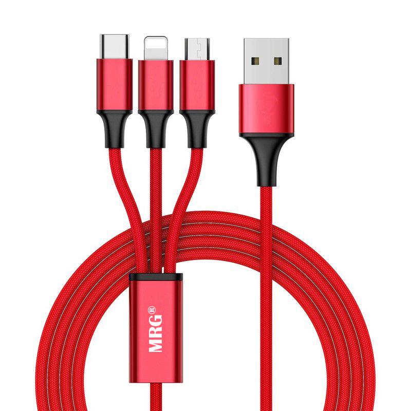 Cablu date si incarcare MRG M-533, 3 in 1, MicroUSB, Lightning, Type-C, Rosu