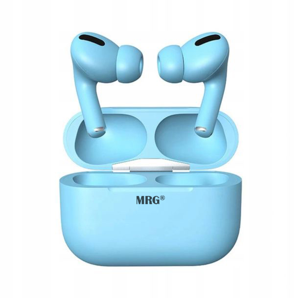 Casti Bluetooth MRG MinPods3, Cu carcasa, Display LCD, Albastru