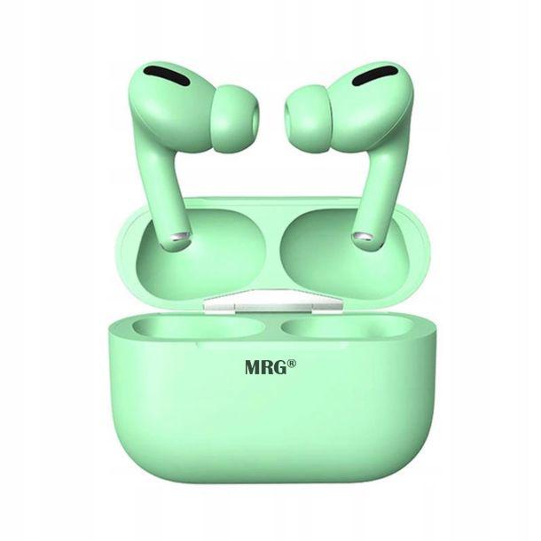 Casti Bluetooth MRG MinPods3, Cu carcasa, Display LCD, Verde