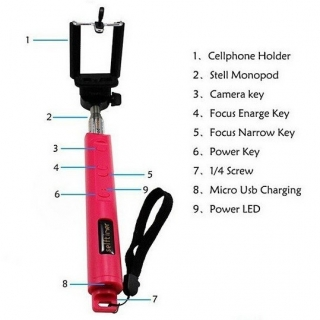 Monopod/prelungitor SELFIE wireless bluetooth bat baston telescopic foto cu buto
