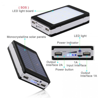 Baterie externa - Power Bank 20000 mah - incarcare solara + lanterna 20 Led